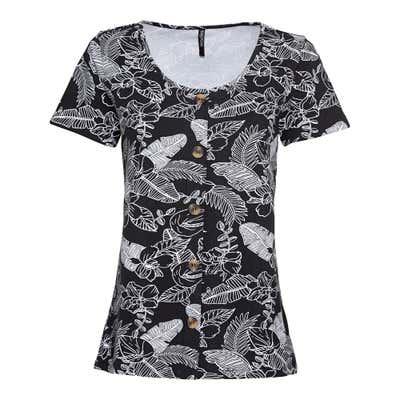 Damen-T-Shirt mit Zierknopfleiste
