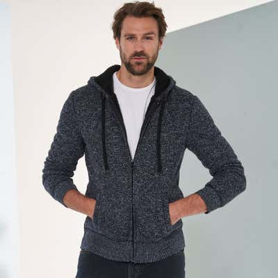Herren-Strickjacke in trendiger Melange-Optik