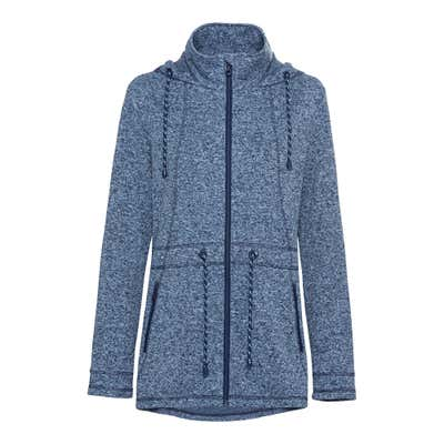 Damen-Strickfleece-Jacke in Melange-Optik