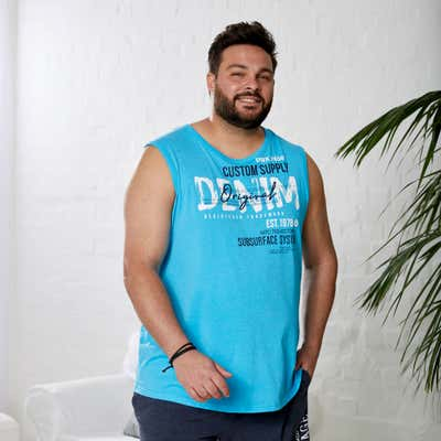 Herren-Muskelshirt im beliebten Denim-Style, große Größen