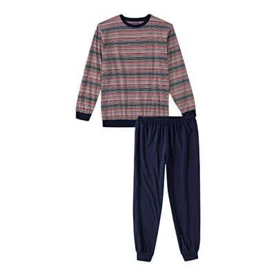 Herren-Schlafanzug mit Kontrast-Bündchen, 2-teilig
