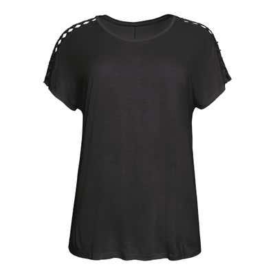 Damen-T-Shirt mit Schnürung, große Größen