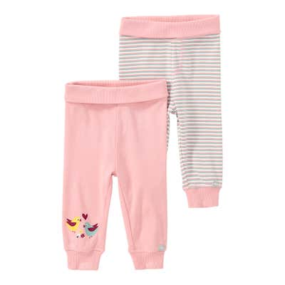Baby-Mädchen-Hose mit Komfort-Bund, 2er Pack