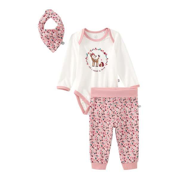 Baby-Mädchen-Set mit Blümchen-Muster, 3-teilig
