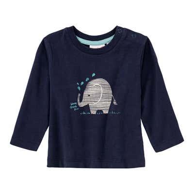 Baby-Jungen-Shirt mit Elefanten-Frontaufdruck