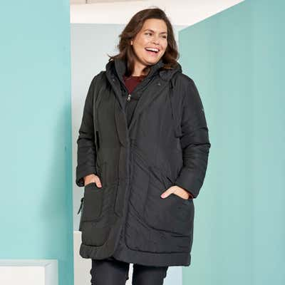 Damen-Mantel mit Eingrifftaschen, große Größen