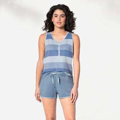 Damen-Schlafanzug mit Frontprint, 2-teilig