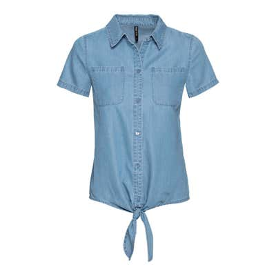 Damen-Bluse in Jeans-Optik