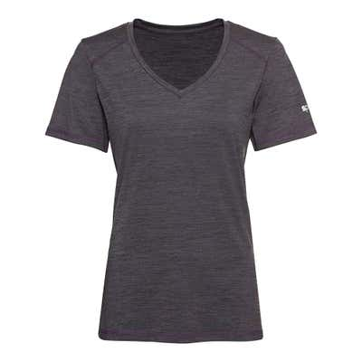 Damen-Fitness-T-Shirt in Space-Dye-Optik