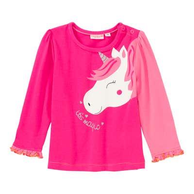 Baby-Mädchen-Shirt mit Kontrast-Ärmel