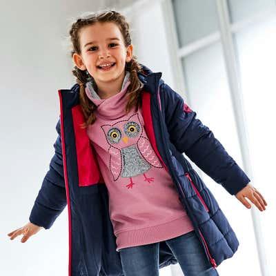 Kinder-Mädchen-Sweatshirt mit süßem Eulen-Aufdruck