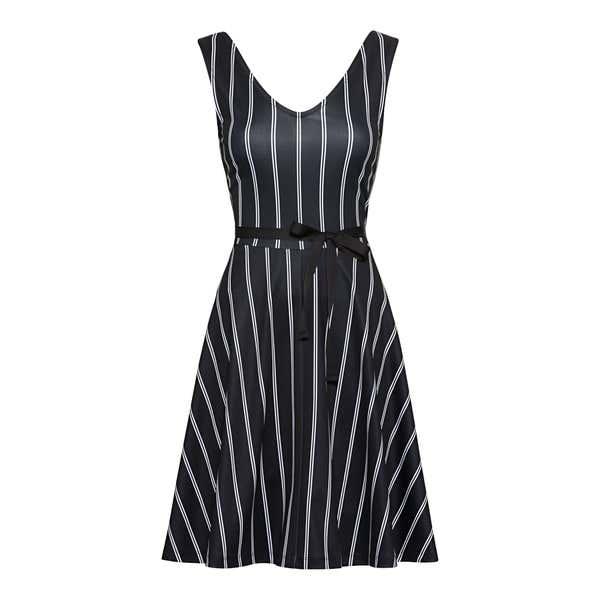 Damen-Kleid mit trendigem Streifendesign, mit Gürtel