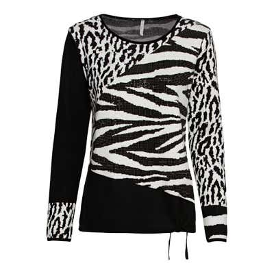 Damen-Jacquard-Pullover mit Schmucksteinchen