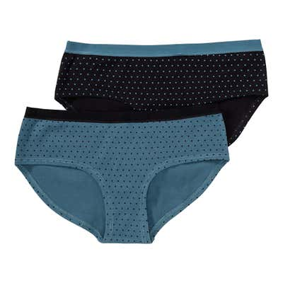 Damen-Panty mit Kontrast-Bund, 2er Pack