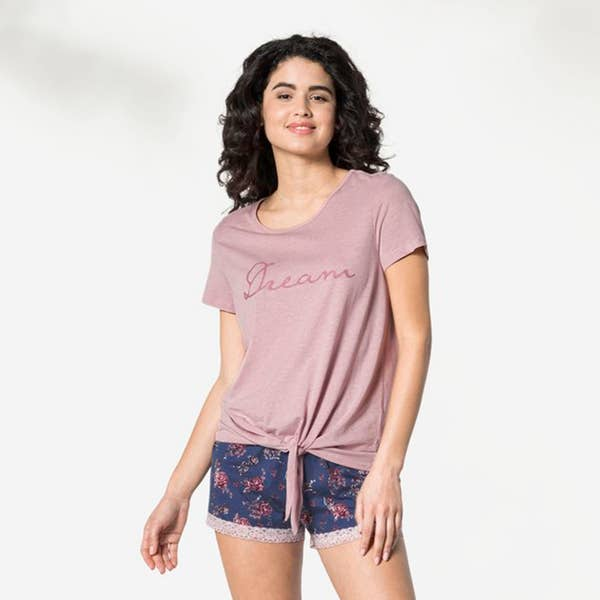 Damen-Schlaf-T-Shirt mit modischem Knoten, Mix&Match