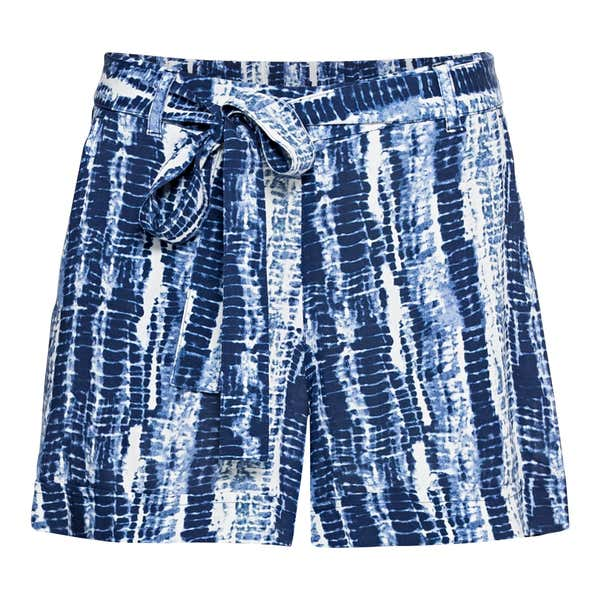 Damen-Shorts in Batik-Optik, mit Bindegürtel