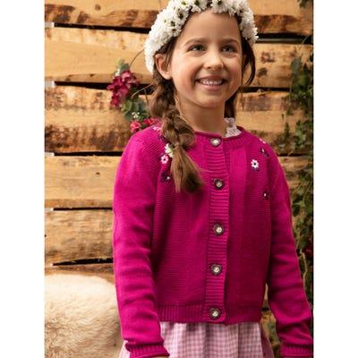 Mädchen-Strickjacke mit Blümchen-Stickereien