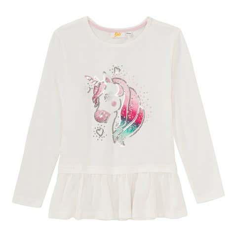 Mädchen-Shirt mit Einhorn-Frontaufdruck