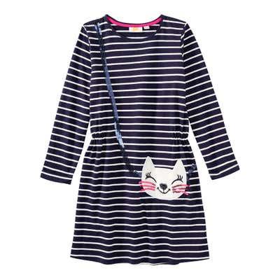 Mädchen-Kleid mit Streifenmuster und Pailletten