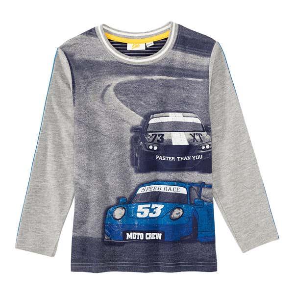 Jungen-Shirt mit großem Rennauto-Frontaufdruck