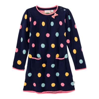 Baby-Mädchen-Strickkleid mit Punkte-Muster