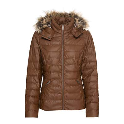Damen-Steppjacke in Leder-Optik