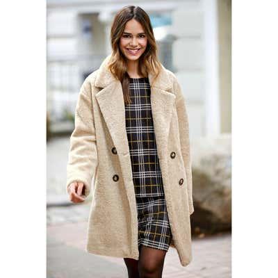 Damen-Mantel aus Teddy-Plüsch