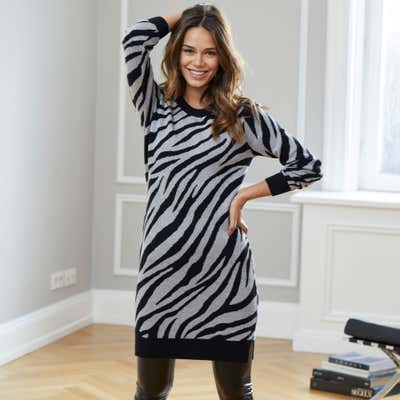 Damen-Longpullover mit Zebra-Design