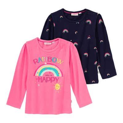 Baby-Mädchen-Shirt mit Regenbogen-Design, 2er-Pack