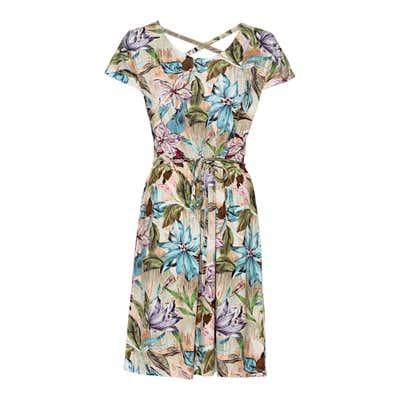 Damen-Kleid mit floralem Design, mit Bindegürtel