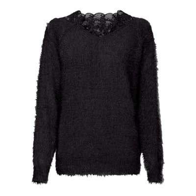 Damen-Pullover mit Spitzeneinsatz