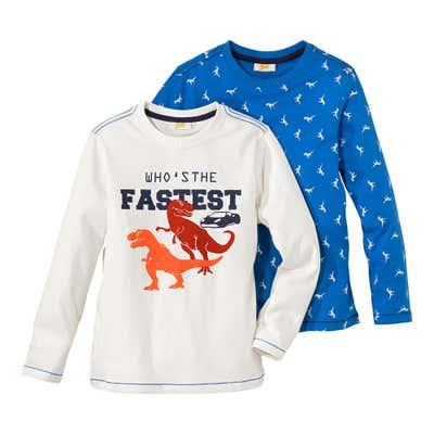 Kinder-Jungen-Shirt mit tollen Dinosauriern, 2er Pack