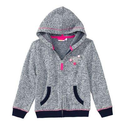 Mädchen-Strickfleece-Jacke in Melange-Optik