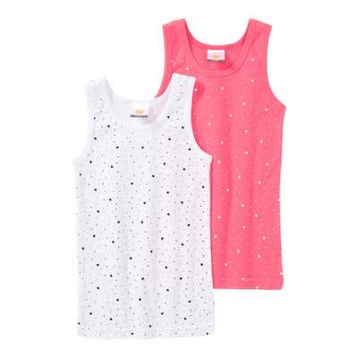 Mädchen-Unterhemd mit Herzmuster, 2er Pack