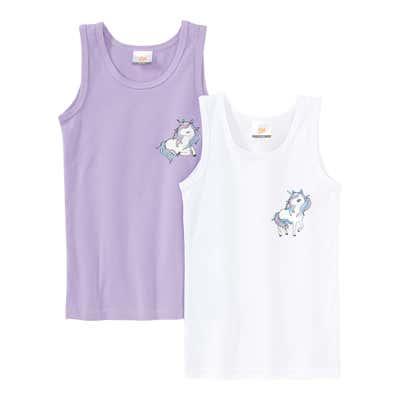 Mädchen-Unterhemd mit Einhorn-Motiv, 2er Pack