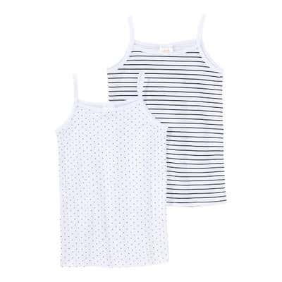 Mädchen-Unterhemd mit Streifenmuster, 2er Pack