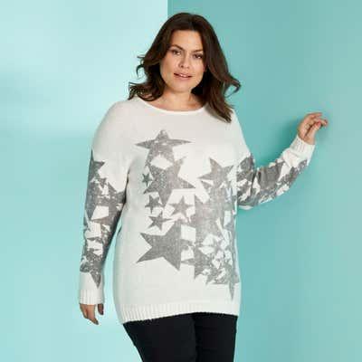 Damen-Pullover mit Sternendruck, große Größen