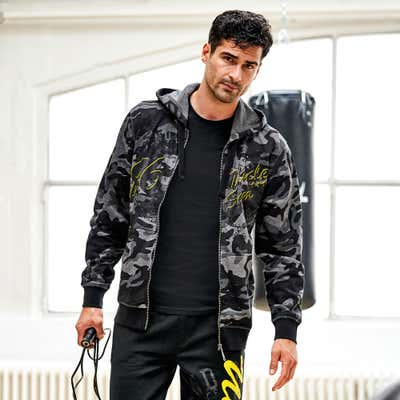 Herren-Sweatjacke in angesagter Camouflage-Optik