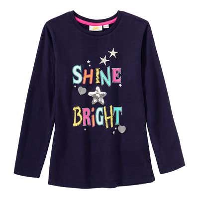 Mädchen-Shirt mit Pailetten in Sternform