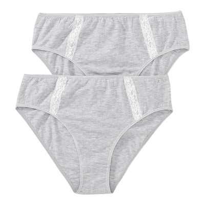 Damen-Rioslip mit aufgesetzten Spitzenbändern, 2er Pack