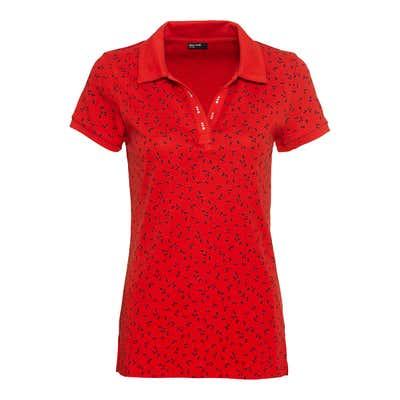 Damen-Poloshirt mit Glitzersteinchen