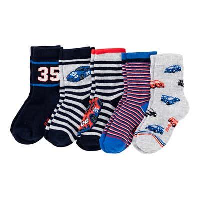 Jungen-Socken mit Rennauto-Design, 5er Pack