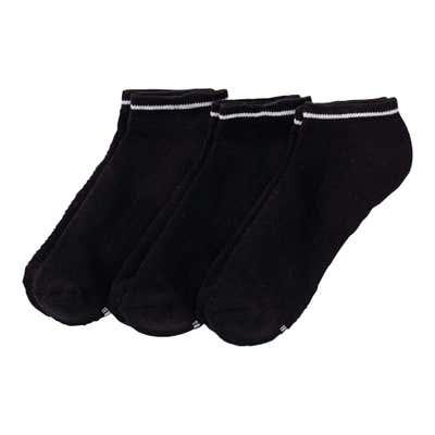 Damen-Sneaker-Socken mit Kontrast-Streifen, 3er Pack
