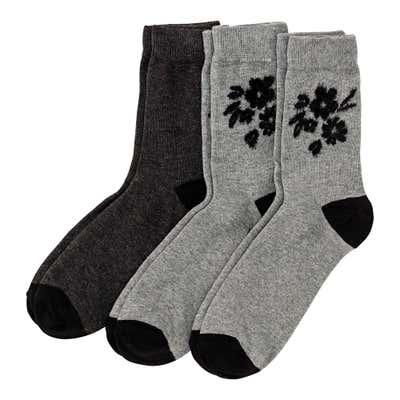 Damen-Socken mit Blumen-Muster, 3er Pack