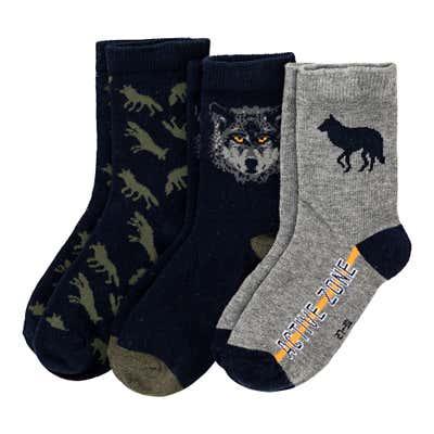 Jungen-Socken mit Baumwolle, 3er Pack