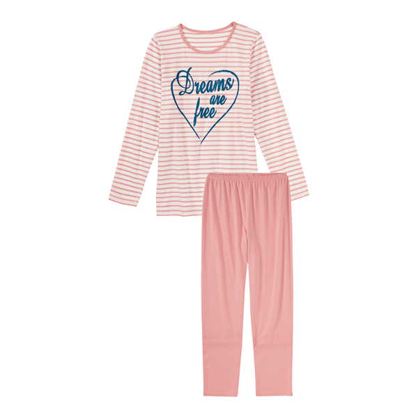 Mädchen-Schlafanzug mit Streifenmuster, 2-teilig