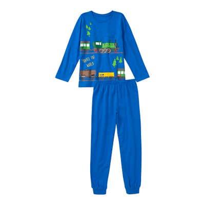 Jungen-Schlafanzug mit Eisenbahn-Frontaufdruck, 2-teilig