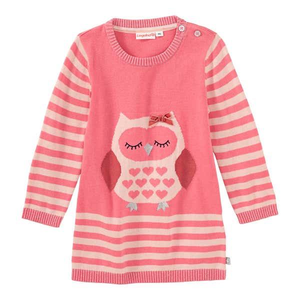 Baby-Mädchen-Strickkleid mit Eulen-Motiv
