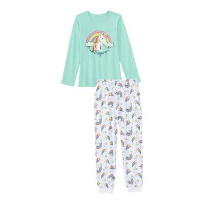 Mädchen-Schlafanzug mit Regenbogen-Muster, 2-teilig