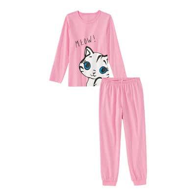 Mädchen-Schlafanzug mit Katzen-Frontaufdruck, 2-teilig